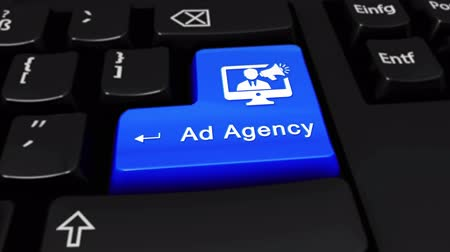 мегафон : Ad Agency Round Motion On Blue Enter Button On Modern Computer Keyboard with Text and icon Labeled. Selected Focus Key is Pressing Animation. Marketing Concept