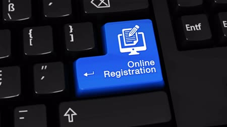 вводить : Online Registration Rotation Motion On Blue Enter Button On Modern Computer Keyboard with Text and icon Labeled. Selected Focus Key is Pressing Animation. Online Technology Concept Стоковые видеозаписи