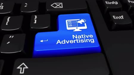 promover : Native Advertising Round Motion On Blue Enter Button On Modern Computer Keyboard with Text and icon Labeled. Selected Focus Key is Pressing Animation. Advantage Marketing Concept