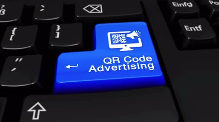 leitor : QR Code Advertising Round Motion On Blue Enter Button On Modern Computer Keyboard with Text and icon Labeled. Selected Focus Key is Pressing Animation. Advantage Marketing Concept Vídeos