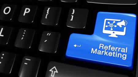 affiliate : Referral Marketing Moving Motion On Blue Enter Button On Modern Computer Keyboard with Text and icon Labeled. Selected Focus Key is Pressing Animation. Advantage Marketing Concept