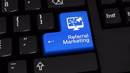 referral : Referral Marketing Rotation Motion On Blue Enter Button On Modern Computer Keyboard with Text and icon Labeled. Selected Focus Key is Pressing Animation. Advantage Marketing Concept