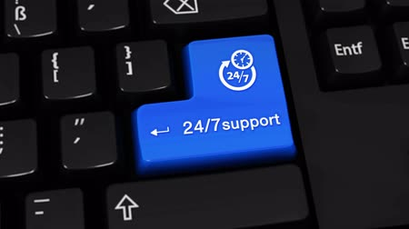 телефон доверия : 24-7 Support Rotation Motion On Blue Enter Button On Modern Computer Keyboard with Text and icon Labeled. Selected Focus Key is Pressing Animation. xxxxx Concept