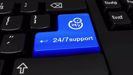 sete : 24-7 Support Round Motion On Blue Enter Button On Modern Computer Keyboard with Text and icon Labeled. Selected Focus Key is Pressing Animation. xxxxx Concept Stock Footage