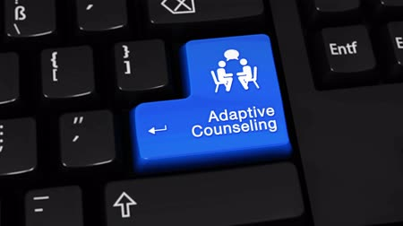 doubt : Adaptive Counseling Rotation Motion On Blue Enter Button On Modern Computer Keyboard with Text and icon Labeled. Selected Focus Key is Pressing Animation. Counseling Services Concept Stock Footage