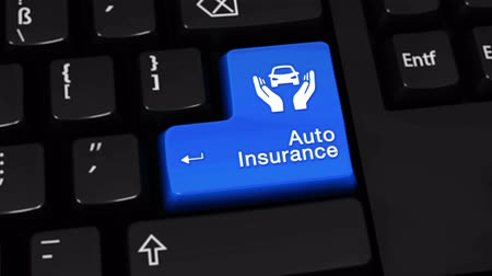 garagem : Auto Insurance Moving Motion On Blue Enter Button On Modern Computer Keyboard with Text and icon Labeled. Selected Focus Key is Pressing Animation. Insurance Services Concept.