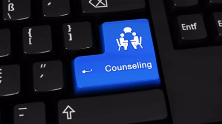 assistência : Counseling Rotation Motion On Blue Enter Button On Modern Computer Keyboard with Text and icon Labeled. Selected Focus Key is Pressing Animation. Counseling Services Concept