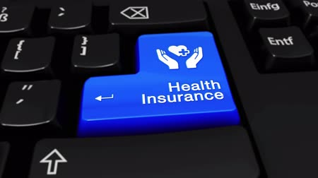health insurance : Health Insurance Round Motion On Blue Enter Button On Modern Computer Keyboard with Text and icon Labeled. Selected Focus Key is Pressing Animation. Insurance Services Concept.