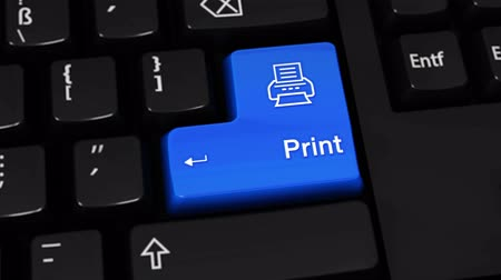 impressão digital : Print Rotation Motion On Blue Enter Button On Modern Computer Keyboard with Text and icon Labeled. Selected Focus Key is Pressing Animation. Print Media Concept