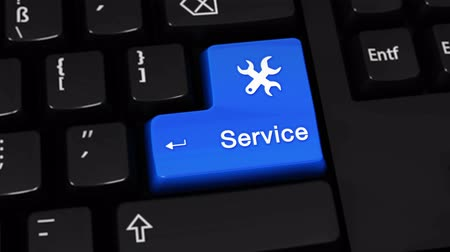 gondoskodó : Service Rotation Motion On Blue Enter Button On Modern Computer Keyboard with Text and icon Labeled. Selected Focus Key is Pressing Animation. Business Service Concept