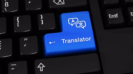 slovník : Translator Rotation Motion On Blue Enter Button On Modern Computer Keyboard with Text and icon Labeled. Selected Focus Key is Pressing Animation. Communication Concept Dostupné videozáznamy