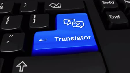 külföldi : Translator Round Motion On Blue Enter Button On Modern Computer Keyboard with Text and icon Labeled. Selected Focus Key is Pressing Animation. Communication Concept
