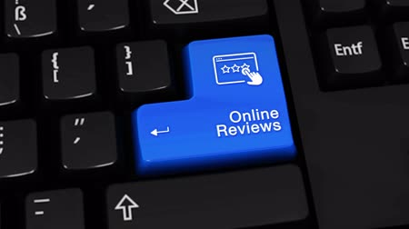 ocena : Online Reviews Rotation Motion On Blue Enter Button On Modern Computer Keyboard with Text and icon Labeled. Selected Focus Key is Pressing Animation. Social Media Concept Wideo