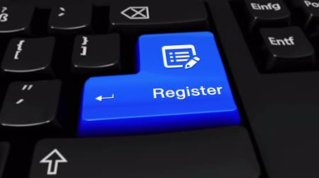 registration : Register Round Motion On Blue Enter Button On Modern Computer Keyboard with Text and icon Labeled. Selected Focus Key is Pressing Animation. Business Management Concept