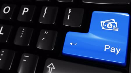 hitel : Pay Moving Motion On Blue Enter Button On Modern Computer Keyboard with Text and icon Labeled. Selected Focus Key is Pressing Animation. Online Payment Technology Concept