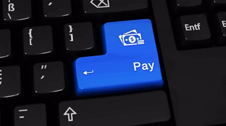 вводить : Pay Rotation Motion On Blue Enter Button On Modern Computer Keyboard with Text and icon Labeled. Selected Focus Key is Pressing Animation. Online Payment Technology Concept Стоковые видеозаписи