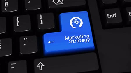 tactic : Marketing Strategy Rotation Motion On Blue Enter Button On Modern Computer Keyboard with Text and icon Labeled. Selected Focus Key is Pressing Animation. Marketing Management Concept