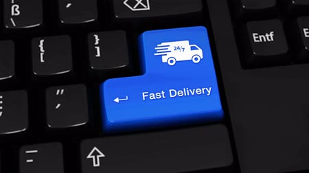 císař : Fast Delivery Rotation Motion On Blue Enter Button On Modern Computer Keyboard with Text and icon Labeled. Selected Focus Key is Pressing Animation. Delivery Services Concept
