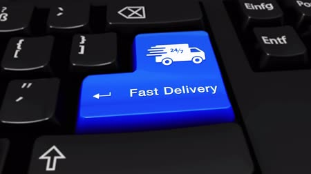 выражать : Fast Delivery Round Motion On Blue Enter Button On Modern Computer Keyboard with Text and icon Labeled. Selected Focus Key is Pressing Animation. Delivery Services Concept