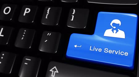 outbound : Live Service Moving Motion On Blue Enter Button On Modern Computer Keyboard with Text and icon Labeled. Selected Focus Key is Pressing Animation. Online Services Concept Stock Footage