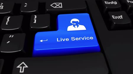 outbound : Live Service Round Motion On Blue Enter Button On Modern Computer Keyboard with Text and icon Labeled. Selected Focus Key is Pressing Animation. Online Services Concept Stock Footage