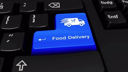 rád : Food Delivery Round Motion On Blue Enter Button On Modern Computer Keyboard with Text and icon Labeled. Selected Focus Key is Pressing Animation. Delivery Services Concept Dostupné videozáznamy