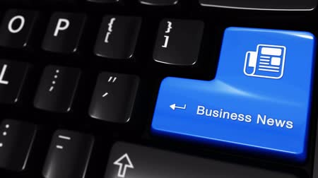 coffee press : Business News Moving Motion On Blue Enter Button On Modern Computer Keyboard with Text and icon Labeled. Selected Focus Key is Pressing Animation. Business Management Concept Stock Footage