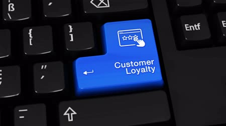 ocena : 399. Customer Loyalty Rotation Motion On Blue Enter Button On Modern Computer Keyboard with Text and icon Labeled. Selected Focus Key is Pressing Animation. Wideo