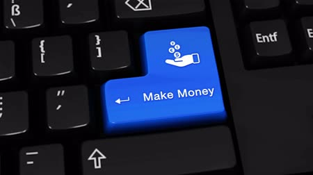 benefício : Make Money Rotation Motion On Blue Enter Button On Modern Computer Keyboard with Text and icon Labeled. Selected Focus Key is Pressing Animation.