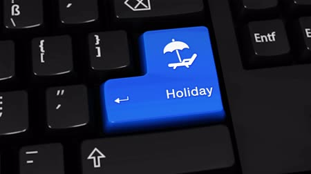 categoria : Holiday Rotation Motion On Blue Enter Button On Modern Computer Keyboard with Text and icon Labeled. Selected Focus Key is Pressing Animation. traveling concept Stock Footage