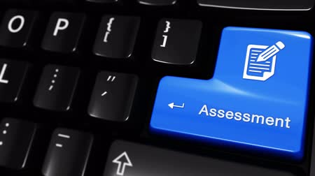assess : Assessment Moving Motion On Blue Enter Button On Modern Computer Keyboard with Text and icon Labeled. Selected Focus Key is Pressing Animation. Business Management Concept
