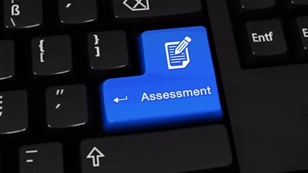 assess : Assessment Rotation Motion On Blue Enter Button On Modern Computer Keyboard with Text and icon Labeled. Selected Focus Key is Pressing Animation. Business Management Concept