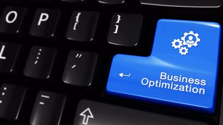 поисковая оптимизация : Business Optimization Moving Motion On Blue Enter Button On Modern Computer Keyboard with Text and icon Labeled. Selected Focus Key is Pressing Animation. Business Management Concept