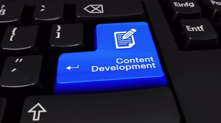 поисковая оптимизация : Content Development Round Motion On Blue Enter Button On Modern Computer Keyboard with Text and icon Labeled. Selected Focus Key is Pressing Animation. Business Management Concept Стоковые видеозаписи