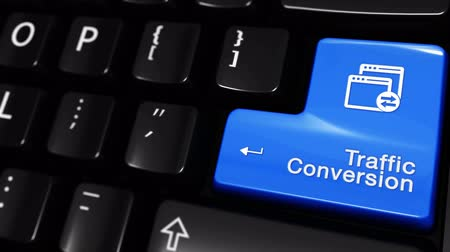 поисковая оптимизация : Traffic Conversion Moving Motion On Blue Enter Button On Modern Computer Keyboard with Text and icon Labeled. Selected Focus Key is Pressing Animation. software development Concept