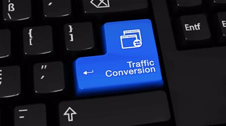 optimalizace : Traffic Conversion Rotation Motion On Blue Enter Button On Modern Computer Keyboard with Text and icon Labeled. Selected Focus Key is Pressing Animation. software development Concept