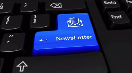 вводить : NewsLetter Round Motion On Blue Enter Button On Modern Computer Keyboard with Text and icon Labeled. Selected Focus Key is Pressing Animation. news media concept