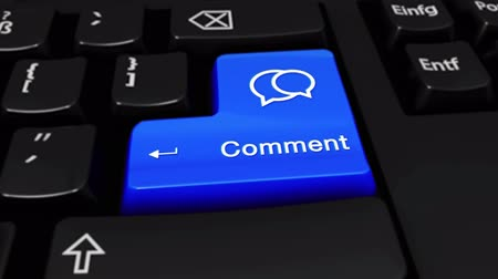 megjegyzés : Comment Round Motion On Blue Enter Button On Modern Computer Keyboard with Text and icon Labeled. Selected Focus Key is Pressing Animation. social media concept