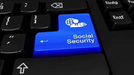 documentation : Social Security Round Motion On Blue Enter Button On Modern Computer Keyboard with Text and icon Labeled. Selected Focus Key is Pressing Animation. Database Security Concept