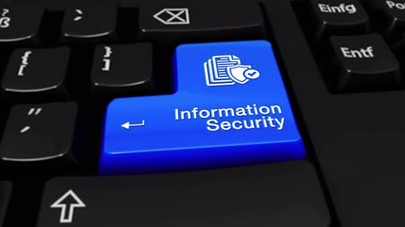вводить : 56. Information Security Round Motion On Blue Enter Button On Modern Computer Keyboard with Text and icon Labeled. Selected Focus Key is Pressing Animation. Database Security Concept Стоковые видеозаписи