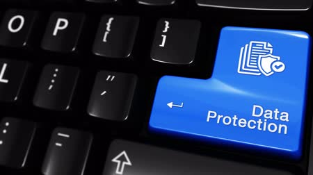gdpr : 69. Data Protection Moving Motion On Blue Enter Button On Modern Computer Keyboard with Text and icon Labeled. Selected Focus Key is Pressing Animation. Database Security Concept Stock Footage