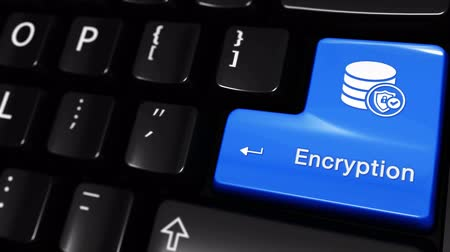 odemknout : Encryption Moving Motion On Blue Enter Button On Modern Computer Keyboard with Text and icon Labeled. Selected Focus Key is Pressing Animation. Database Security Concept Dostupné videozáznamy