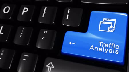 поисковая оптимизация : Traffic Analysis Moving Motion On Blue Enter Button On Modern Computer Keyboard with Text and icon Labeled. Selected Focus Key is Pressing Animation. Website Development Concept