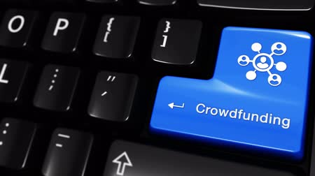 financiamento : Crowdfunding Moving Motion On Blue Enter Button On Modern Computer Keyboard with Text and icon Labeled. Selected Focus Key is Pressing Animation. Social Media Concept Vídeos