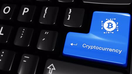 cryptocurrency : Cryptocurrency Moving Motion On Blue Enter Button On Modern Computer Keyboard with Text and icon Labeled. Selected Focus Key is Pressing Animation. Digital Currency Concept Stock Footage