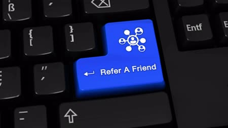 computer program : Refer A Friend Rotation Motion On Blue Enter Button On Modern Computer Keyboard with Text and icon Labeled. Selected Focus Key is Pressing Animation. Online Services Concept