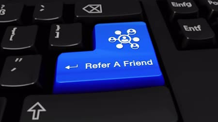 gerek : Refer A Friend Round Motion On Blue Enter Button On Modern Computer Keyboard with Text and icon Labeled. Selected Focus Key is Pressing Animation. Online Services Concept
