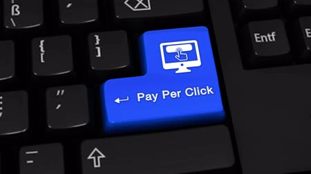 поисковая оптимизация : Pay Per Click Rotation Motion On Blue Enter Button On Modern Computer Keyboard with Text and icon Labeled. Selected Focus Key is Pressing Animation. Online Services Concept Стоковые видеозаписи