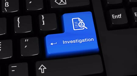 investigar : Investigation Rotation Motion On Blue Enter Button On Modern Computer Keyboard with Text and icon Labeled. Selected Focus Key is Pressing Animation.