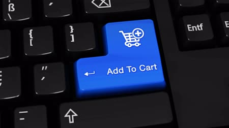 add to cart : Add To Cart Rotation Motion On Blue Enter Button On Modern Computer Keyboard with Text and icon Labeled. Selected Focus Key is Pressing Animation. Online Shopping Concept